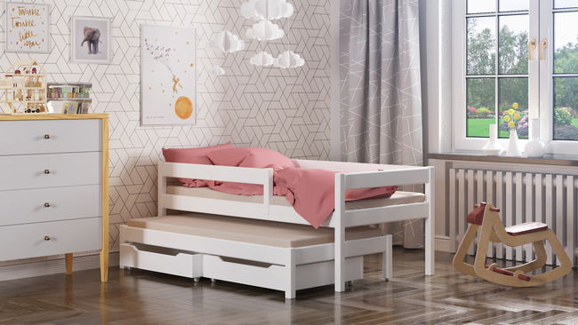 łóżko dla dziecka produkowane z litego drewna z dostawką