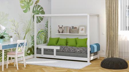 łóżka z litego drewna, skandynawskie łóżka, łóżko dla dzieci, łóżko pojedyncze, ekologiczne łóżka, łóżka eko, łóżka w skandynawskim stylu, łóżko domek, łóżko w kształcie domku, łóżko z baldachimem