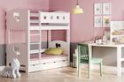 łóżko piętrowe z litego drewna i MDF
