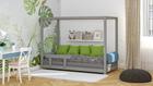 łóżko pojedyncze, ekologiczne łóżka, łóżka eko, łóżka w skandynawskim stylu, łóżko domek, łóżko w kształcie domku, łóżko z baldachimem